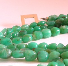 Necklace made with small chrysoprase nuggets
