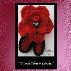 Brooch / Pin Flower Crochet