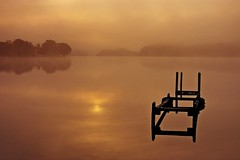 Loch Ard 2 (Stuart Stevenson) Tags: trees orange sunlight mist reflection water sunrise landscape scotland early canon300d stuart september reflexions trossachs hdr lochard kinlochard platinumphoto stuartstevenson canonef28mm135mmf3556isusm stuartstevenson