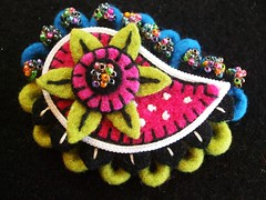 Felt paisley brooch (woolly  fabulous) Tags: felted colorful pin recycled brooch felt zipper paisley beaded couched blanketstitch