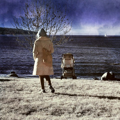 contemplate it all from out here (cherryvega) Tags: winter sea people canada cold tree water strange grass vancouver landscape geotagged ir outdoors boat seaside bc stroller surreal stranger kits kitsilano infrared d100 invisiblelight geo:lat=49277477 geo:lon=123151688