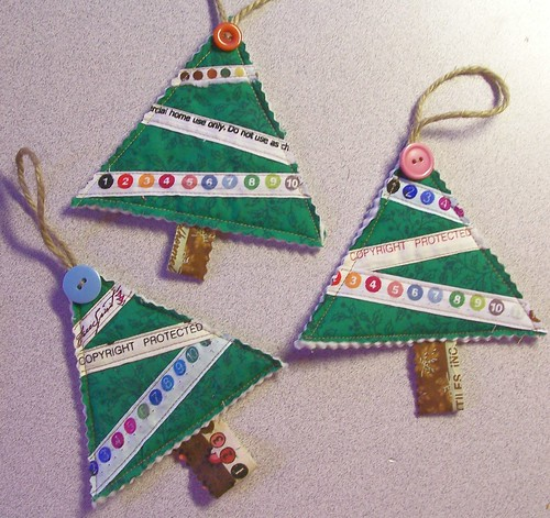 Selvage Christmas Tree Ornaments
