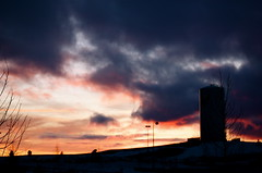 Sunset (lowellsimonsen) Tags: trees sunset snow lights washington university watertower eastern ewu