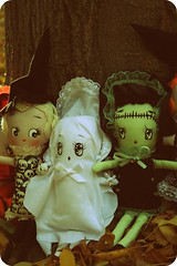 The Spooky Bunch (boopsie.daisy) Tags: autumn cute green halloween skulls whisper dolls handmade witch ghost homemade frankenstein daisy trio bunka boopsie boopsiedaisy frankenstella