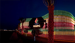 KMPC BUILDING- KUWAIT NATIONAL DAY 25-26/2/09 (Saqer Alattar) Tags: nightphotography red color green nikon flag d2x kuwait sager  ahmadi kuwaitflag kmpc   saqer alattar kuwaitnationalday alahmidy alahmady
