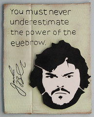 Favourite Celebrity Quote no. 611 - Jack Black (id-iom) Tags: street uk england urban black celebrity london art face jack graffiti cool stencil artist power head quote signature drop cardboard autograph eyebrow vandalism jackblack brixton idiom