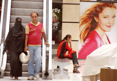 A Muslim couple shopping in a maill in Ahmedabad