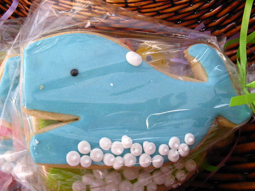 A blue-frosted cookie in the shape of Twitter's Fail Whale.