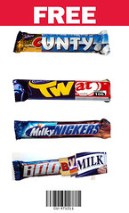 Free Chocolate Coupon (pointblankart) Tags: art bar discount kat andrews chocolate postcard snickers richard twirl barcode kit cadburys voucher bounty nestle coupon boost dairymilk crunchie pointblank milkybar