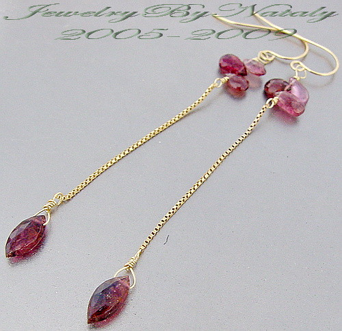 Hot Pink Rubilite Tourmaline Faceted Briolette 14K Gold Long Dangle Earrings