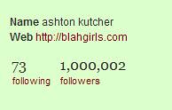 Ashton Kutcher breaks the million follower mar...