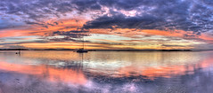 Get your f*cking boat out of my shot (ImageBud) Tags: sunset panorama lake reflection hdr justclouds blacksmithsbeach fckingboatinthewayofagreatsunset camdub