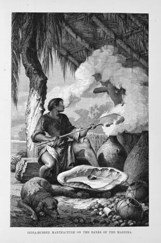 007-Los Ríos Amazonas y Madeira 1875-Indio fabricando caucho en la ribera del Madeira