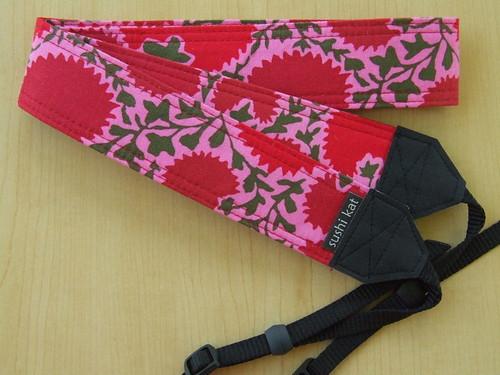 custom camera strap - kaffe fassett's pinking flowers