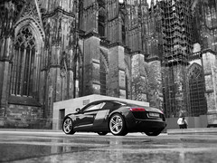 Audi R8  --Explore #1!-- (Mert Esmer) Tags: auto blackandwhite church car sport race canon germany one 1 dom kln number explore audi v8 sportscar r8 keulen mert audir8 esmer autogespot