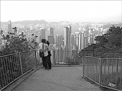 (Christian Lagat) Tags: china blackandwhite woman man tower love hongkong bay kiss couple noiretblanc femme lovers amour   kowloon grdigital chine homme victoriapeak baiser amoureux baie inthemoodforlove  ricohgrd