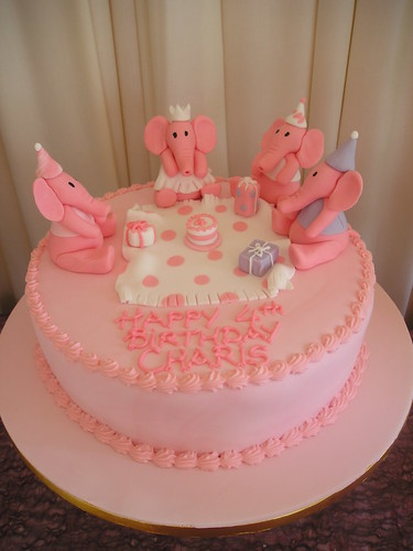 Pink Elephants Birthday Party Cake