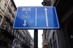 Brussels Bike/Bus Lane, One-way Shared Traffic Lane
