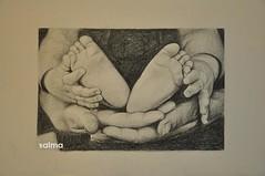 Holding Baby (Salma Al-Ajeel) Tags: baby black aj holding paint drawings salma        alajeel