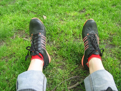 090520. my feet, clad in new shoes in central park.