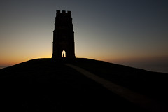 Glastonbury sunrise (antonyspencer) Tags: uk travel mist tower silhouette sunrise landscape hill glastonbury somerset tor mound