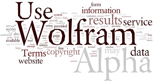 Wolfram Alfa - Terms of Use, Tag cloud