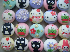 Kitty Cupcakes ( gabby cupcakes by Gabriela Cacheux) Tags: birthday pink flowers blue cute green art cakes yellow design cupcakes girly hellokitty sugar sanrio kawaii vanilla badtzmaru pochacco gumpaste mymelody gabbycupcakes