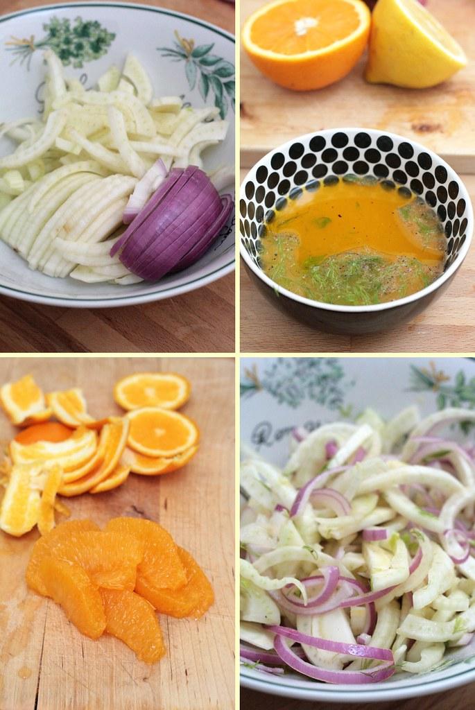Préparation salade de fenouil & saumon fumé