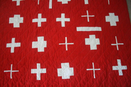 Close up of Swiss Cross Quilt