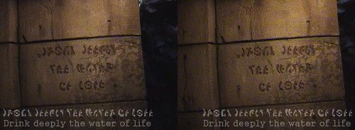 Drink deeply the water of life. - The fountain of false youth. Cross-eye 3D.