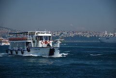 So Istanbul! (Let Ideas Compete) Tags: old travel blue white ferry turkey bay harbor boat wake barco barcos harbour wave istanbul tires bow splash touristcity muslimcountry secularcountry