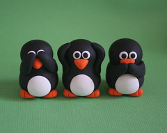 See No Evil Penguins (fliepsiebieps1) Tags: orange white black cute bird penguin penguins three miniature speaknoevil seenoevil hearnoevil clay wise trio figurine pinguine pinguins polymer