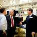 Chancellor Randy Woodson (center) tours the David H. Murdock Research Institute (DHMRI).