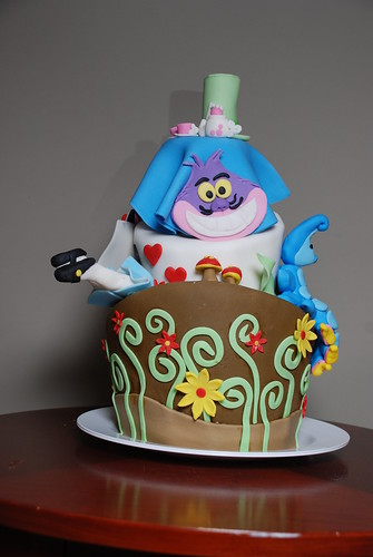 alice in wonderland cake /Topsy Turvy Cake