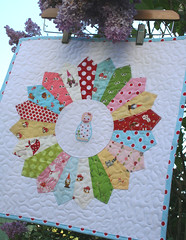 woodland happiness~ mini dresden plate (sewdeerlyloved) Tags: mushrooms japanese doll quilt embroidery mini polkadots fabric seedlings gnomes matryoshka wallhanging dresdenplate fleamarketfancy heatherross denysescmidt alittlesweetness tashanoel russiansweetie