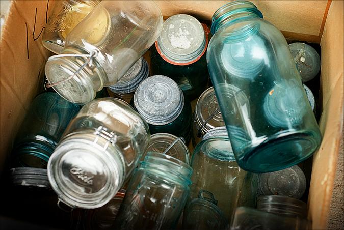 blue canning jars