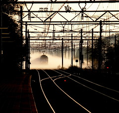 (bogers) Tags: mist netherlands fog train track ns rail railway denhaag best railways thehague bogers bkk trein spoor spoorwegen ov openbaarvervoer mariahoeve nederlandsespoorwegen straatfotografie basbogers 18052010 portfoliobasbogers