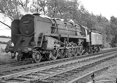 Class 9F no.92079 running back down Lickey Incline. 22 August 1963 (ricsrailpics) Tags: uk steam freight 1963 banker lightengine class9f lickeyincline exbr