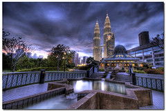 urban sunset (acidsulfurik) Tags: sunset urban architecture buildings mosque twintowers bluehour hdr highdynamicrange klcc sigma1020mm 9xp 9exposures assyakirin acidsulfurik