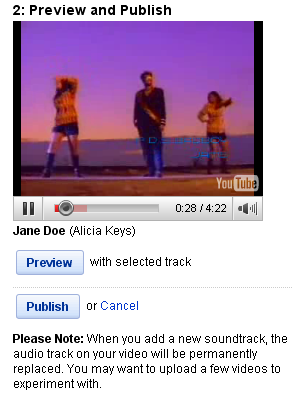 Screenshot of the YouTube AudioSwap interface (2/2)