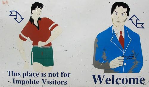 Fantastic, jaunty sign at Bich Dong Pagoda, Tam Coc, Vietnam