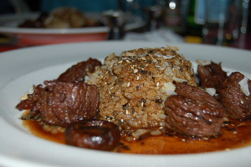 Beef Cubes with Rice, Coconut and Mushroom