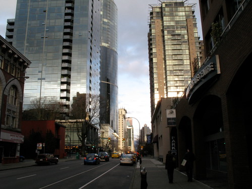 Hornby Street, sun going down