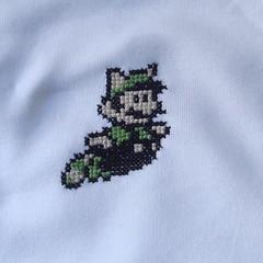 raccoon luigi onesie crop (benjibot) Tags: clothing crossstitch crafts videogames onesie