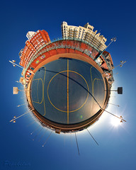 Brighton Basket 'Ball' (Pepeketua) Tags: uk england panorama field basketball photoshop canon de brighton view little hilton grand mini planet seafront interactive 1022mm stereography hdr vere 10mm hugin immersed equirectangular hdrpanorama 400d dphdr CPSNZ:Award=acceptance