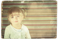 Easter Portrait 7 - Vintage (nate@nderson) Tags: portrait girl vintage easter toddler child picture retro faded worn overexposed torn pigtails