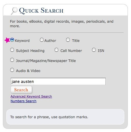 keyword search on Jane Austen in the OSU Libraries catalog