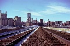 Minnesota, Minneapolis, Stone Arch Bridge, (Railroad / Skyline-1976) (EC Leatherberry) Tags: railroad bridge history minnesota skyline 1883 stonearchbridge greatnorthernrailway nationalregisterofhistoricplaces hennepincounty mississippiriverandrecreationarea