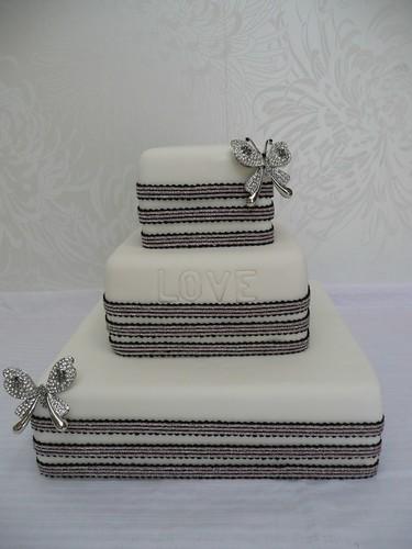 art deco wedding cake diamonte butterflies