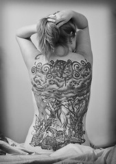 Me 162/365 (Kerrie Lynn Photography (Sugaree_GD)) Tags: trees bw woman moon white selfportrait black tattoo female clouds forest back fairy faery swirls fairies piece vignette faeries amybrown tattooed heavily 365days staceysharp twitter365 sugareegd 162365 keirwells professionalretro